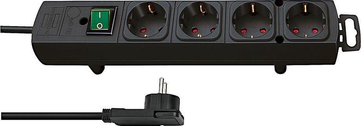 Brennenstuhl Comfort-Line Plus stekkerdoos met 4 ruime contacten / zwart - 2 meter