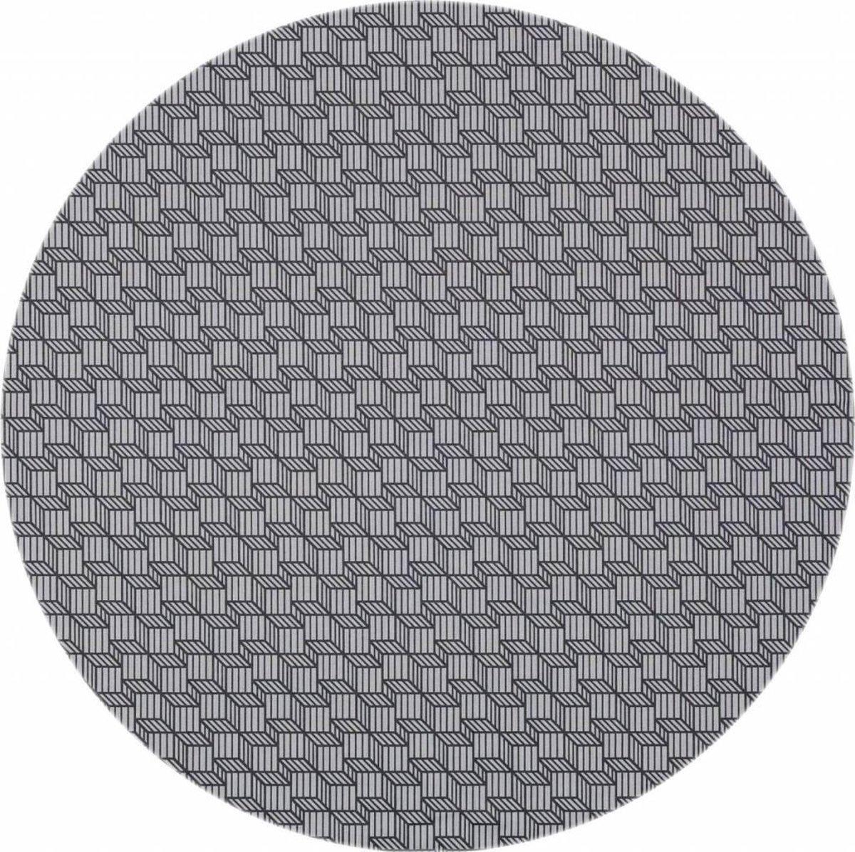 MixMamas Rond Tafelkleed Gecoat - Ø 160 cm - Kubussen - Grijs - MixMamas