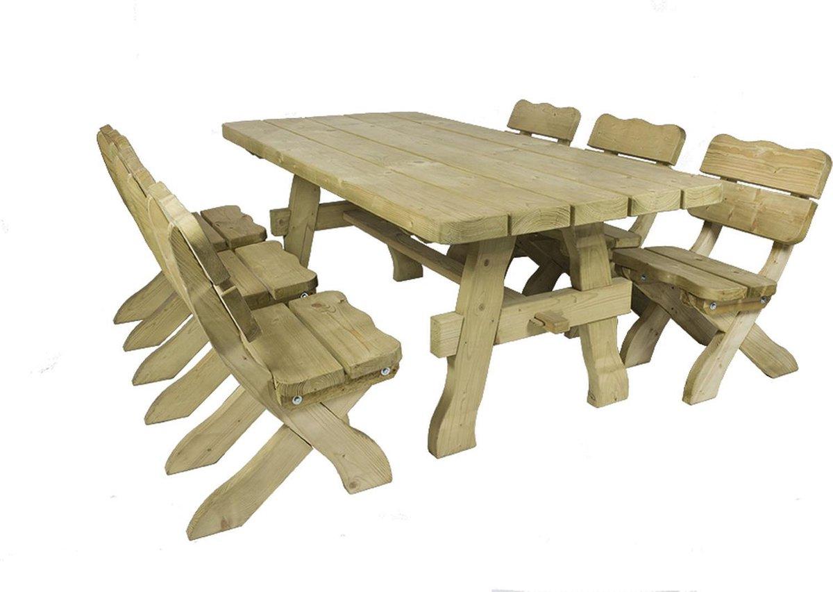 MaximaVida houten tuinset Provence 200 cm met 1 tafel en 6 stoelen