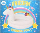 Bestway kinderzwembad Unicorn 196x133x96 wit roze- 2 rings- vanaf 2 jaar