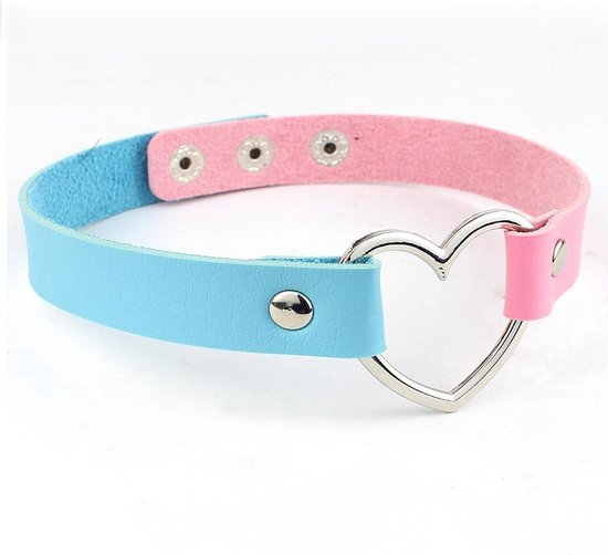 KIMU choker roze blauw hartje - PU leer collar ketting hart halsband