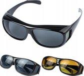 2-In-1 Zonnebril Met Overzet Autobril Set - Overzetbril Nachtbril Sunglasses  - Nachtblindheid Nightvision Gele Night Vision Bril - Voor Dames & Heren