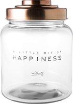 Dutch Rose Amsterdam Voorraadpot Happiness - Glas met koperkleurige deksel -2,6 l
