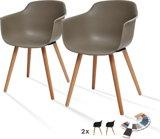 Flow eetkamerstoelen in een set van 2 - Limited Edition Living stoelen voor aan de eettafel - Bruin - Limited Edition Living