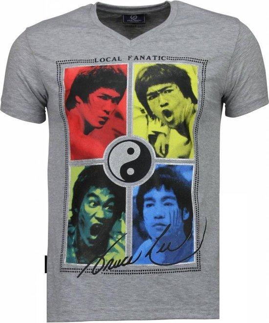 Local Fanatic Bruce Lee Ying Yang - T-shirt - Grijs - Maat: XL