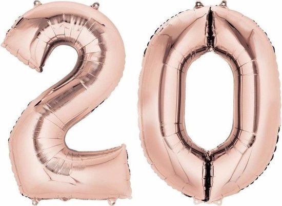 20 jaar rose gouden folie ballonnen 88 cm leeftijd/cijfer - Leeftijdsartikelen 20e verjaardag versiering - Heliumballonnen