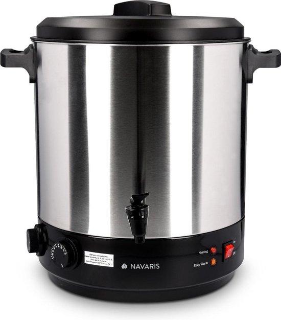 Navaris inmaakketel met glühwein functie - Inclusief thermostaat en timer tot 120 minuten - Temperatuur van 30-100°C - Met thermostaatkraan - 27 liter