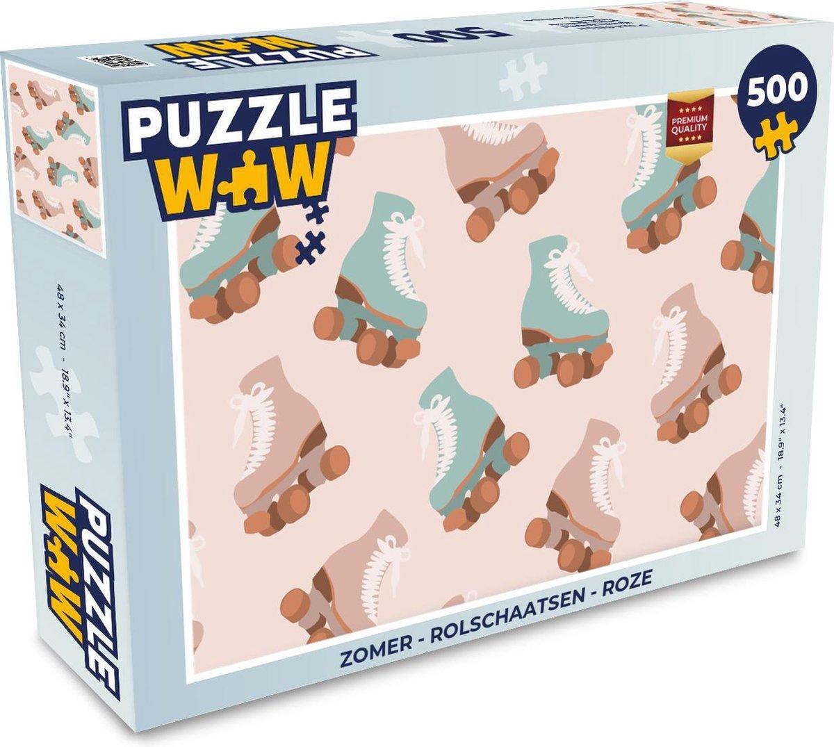 Puzzel Zomer - Rolschaatsen - Roze - Legpuzzel - Puzzel 500 stukjes