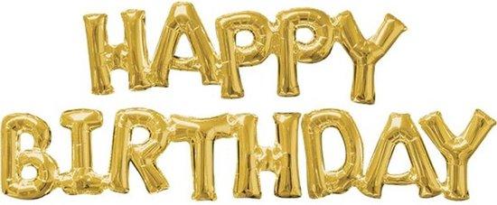 Folieballon 'Happy Birthday' - Goud