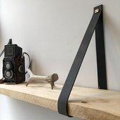 Leren Plankdragers Antraciet + mooie RVS sierkapjes | 2 stroken per set |  plankendrager | echt leder|industriële plankdragers | plankdragers antraciet| ophangsysteem | plank dragers | planken dragers | wanddecoratie | wandsteun