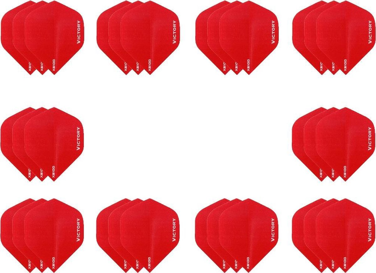 10 sets (30 stuks) Super Sterke Rode Poly XS100 - flights - dartflights