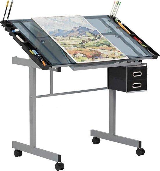 Teken Tafel - Glazen Tafelblad Werkblad - Workstation Lessenaar - Werktafel Buro Verstelbaar