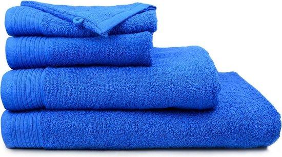 The One Badgoedset 450 gr - 4x 70x140 cm + 4x Washandjes 15x21 cm - Royal Blue