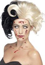 Cruella de Vil pruik met krul | zwart en wit haar