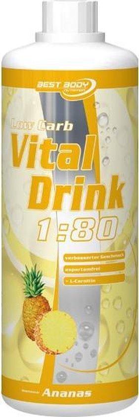 Best Body Nutrition Low Carb Vital Drink - 1000 ml - Strawberry Rhabarber