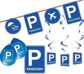 Pensioen/met de VUT themafeest pakket S blauw/verkeersbord - Feestartikelen versiering