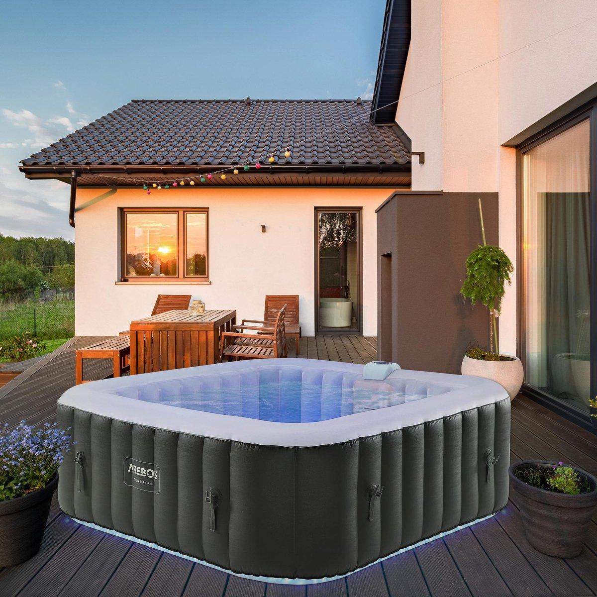 AREBOS en-outdoor Whirlpool Spa Zwembad vierkante opblaasbare massage met LED