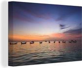 Schemer op Sairee-Strand in Ko Tao Thailand Canvas 30x20 cm - klein - Foto print op Canvas schilderij (Wanddecoratie woonkamer / slaapkamer)