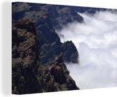 Luchtfoto van het Nationaal park Caldera de Taburiente in Spanje Canvas 60x40 cm - Foto print op Canvas schilderij (Wanddecoratie woonkamer / slaapkamer)