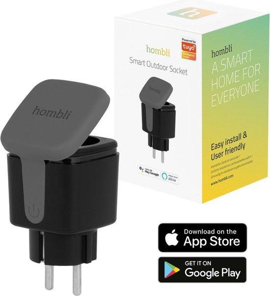 Hombli Smart Outdoor Socket – Slimme stekker voor buiten  – Energiemonitor – Timer en Schema's - Spraakbesturing via Google Assistant, Alexa en Siri - Weerbestendig – Zwart