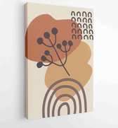 Botanical wall art vector set. Earth tone boho foliage line art drawing with abstract shape. 1 - Moderne schilderijen – Vertical – 1881805201 - 40-30 Vertical