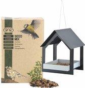 Metalen vogelhuisje/voedertafel hangend antraciet 23 cm met vogel strooivoer 2,5 kg - Zangvogels voederen