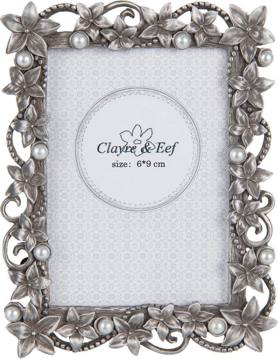 parelen huwelijk cadeau - Clayre & Eef - Metalen fotolijst met bloemen en pareltjes voor foto 6x9 - 2F0527XS