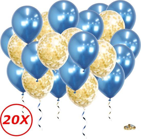 Verjaardag Versiering Helium Ballonnen Feest Versiering Decoratie Confetti Ballon Bruiloft Blauw & Goud - 20 Stuks