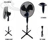 GLB - Ventilator staand zwart - Statiefventilator - Waaier - Zwarte ventilator staand - 40CM diameter