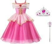 Doornroosje jurk Prinsessen jurk Deluxe 116-122 (120) roze goud + kroon + toverstaf verkleedjurk verkleedkleding