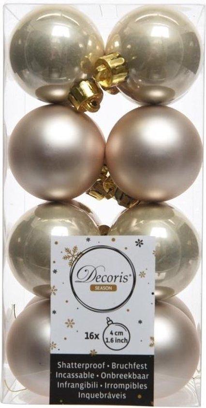 16x Licht parel/champagne kunststof kerstballen 4 cm - Mat/glans - Onbreekbare plastic kerstballen - Kerstboomversiering