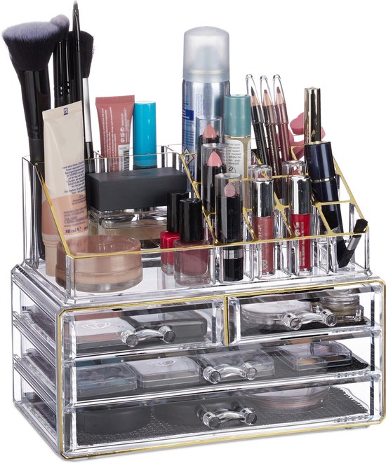 Relaxdays Make-up Organizer - Tweedelig - Cosmetica Opbergdoos - Wit - Relaxdays