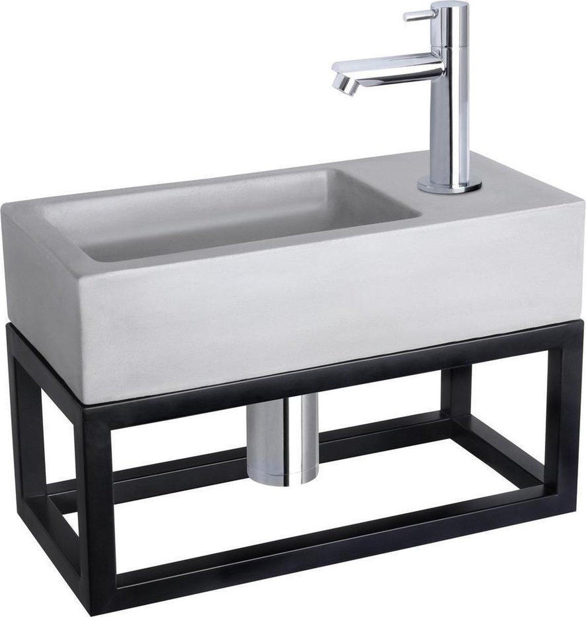 Differnz Ravo Fonteinset - Beton lichtgrijs - Kraan recht chroom - Met handdoekrek - 38.5 x 18.5 x 9 cm