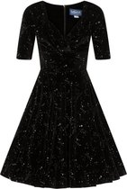 Collectif Trixie Make A Wish Velvet 50's Swing Jurk Zwart