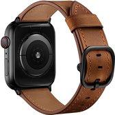 bandje geschikt voor Apple Watch 44MM / 42MM Bandje Leer met Modieuze Gespsluiting Bruin