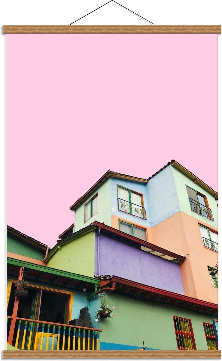 Schoolplaat   Gekleurde Huisjes  - 60x90cm Foto op Textielposter (Wanddecoratie op Schoolplaat)