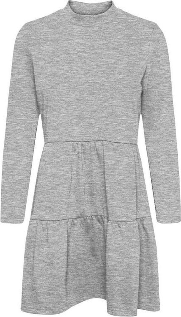 Vmnatalia l/s frill sweat dress Light grey melange.