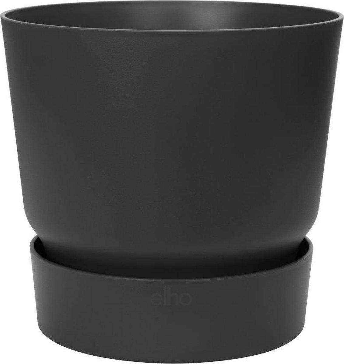 Elho Greenville Rond 25 - Bloempot voor Buiten - Ø 24.48 x H 23.31 - Zwart