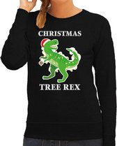 Christmas tree rex Kerstsweater / foute Kersttrui zwart voor dames - Kerstkleding / Christmas outfit S