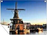 Windmolen aan het water in Haarlem tuinposter los doek 80x60 cm - Tuindoek / Buitencanvas / Schilderijen voor buiten (tuin decoratie)