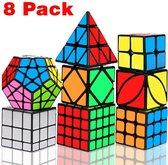 Speed Cube - Speed Cube Set 8 stuks - Speed Cube Giftset - Magic Cube - Kubus Puzzel  - Breinbrekers - voor kinderen en volwassenen