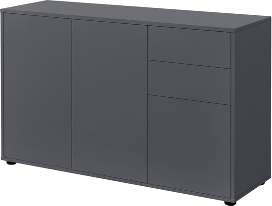 Product: Commode Paarl druk en open 74x117x36 cm donkergrijs mat, van het merk en.casa