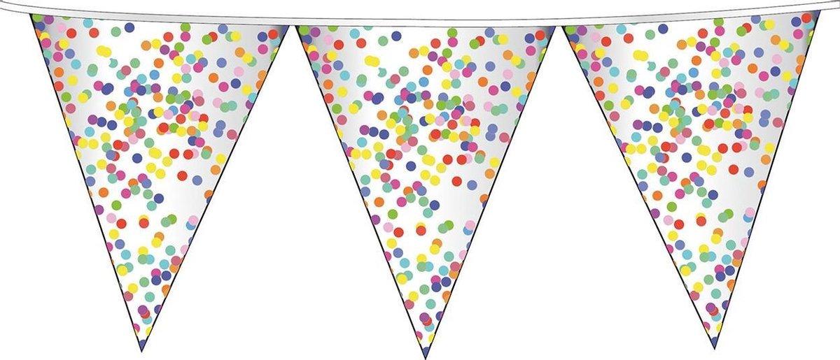 1x Confetti thema feest vlaggenlijnen van plastic 10 meter - Kinderfeestje/kinderverjaardag - Feest/