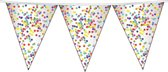 1x Confetti thema feest vlaggenlijnen van plastic 10 meter - Kinderfeestje/kinderverjaardag - Feest/verjaardag - Thema feest - Confetti feestversiering - Vlaggenlijnen/slingers - Vlaggenlijn van plastic