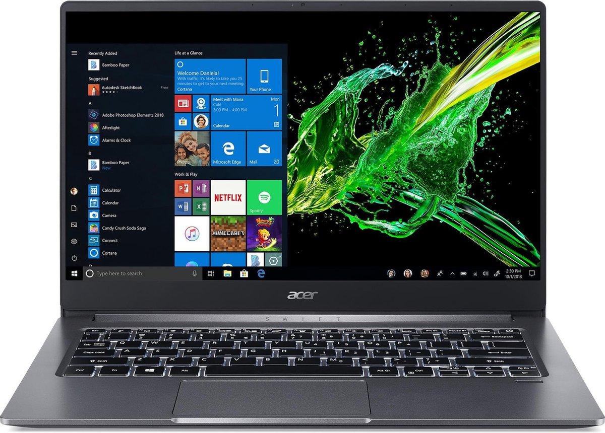 Acer Swift 3 SF314-57-73EU Notebook Grijs 35,6 cm (14) 1920 x 1080 Pixels Intel® 10de generatie Core™ i7 16 GB LPDDR4x-SDRAM 512 GB SSD Wi-Fi 6 (802.11ax) Windows 10 Home
