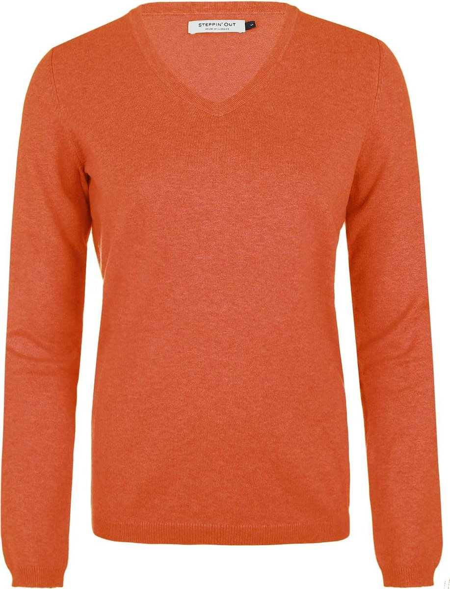 Steppin' Out Vrouwen Trui Cotton Cashmere V-hals Oranje Katoen Maat: S