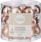 House Of Seasons Kerstballen 2,5 Cm Glas Lichtroze 24 Stuks