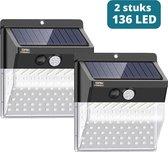 2 Stuks Oak power+ Solar Sensor Light - Tuinverlichting op zonne-energie - Solar buitenverlichting - 136 LED