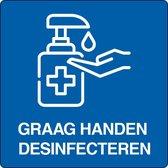 """Vloerpictogram """"graag handen desinfecteren"""" Wit & Blauw 200 mm x 200 mm x"""