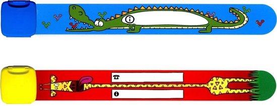Infoband polsbandjes - Set van 2 SOS naambandjes voor kinderen - 1 x Krokodil en 1 x Giraf